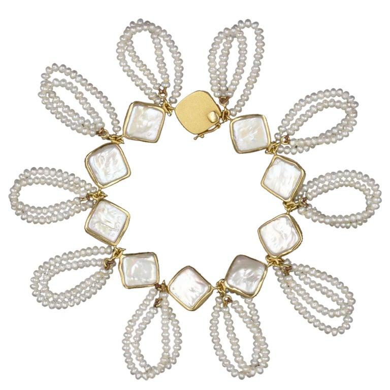 Janis Kerman, Gold and Pearl Link Bracelet, 2018, 18 Karat Gold, Pearl