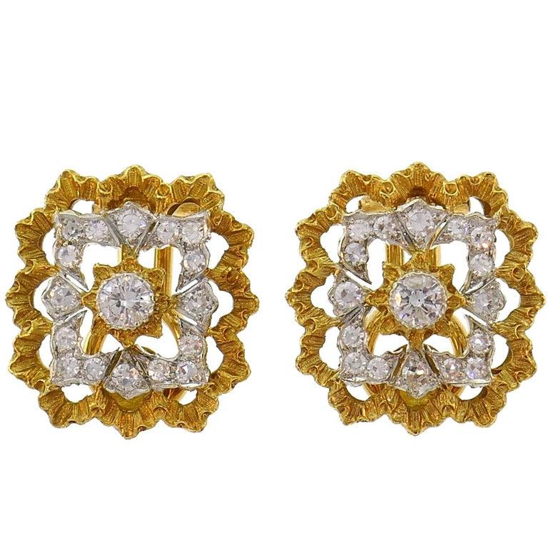 Buccellati Diamond Gold Clip-On Earrings For Sale
