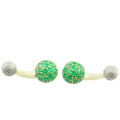 Spherical Cufflinks in White and Yellow Gold and Emeralds