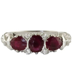 Ruby White Diamond White Gold Trilogy  Ring