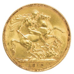 Antique 1912 George V Gold Full Sovereign Coin