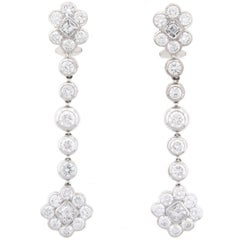 Graff Diamond Dangle Earrings Platinum 6.60 Carat