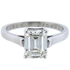 Tiffany & Co. Platinum Solitaire Emerald Cut Engagement Ring 2.45 Carat I VS1