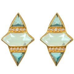 Lauren Harper Aquamarine, London Blue Topaz, Diamond Gold Studs