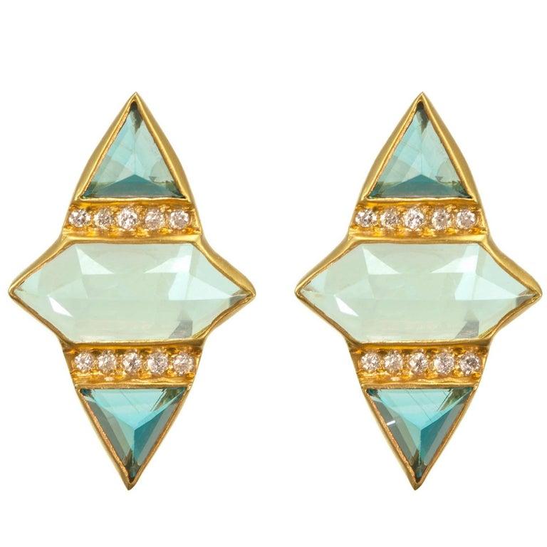 Lauren Harper Aquamarine, London Blue Topaz, Diamond Gold Studs