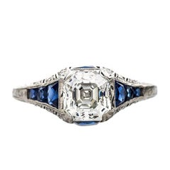 Art Deco GIA 1.39 Carat Step Cut Diamond Sapphire Platinum Engagement Ring