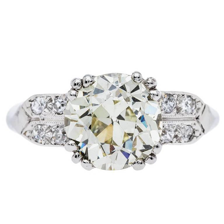 Art Deco 2.07 Carat Old European Cut Diamond Platinum Engagement Ring