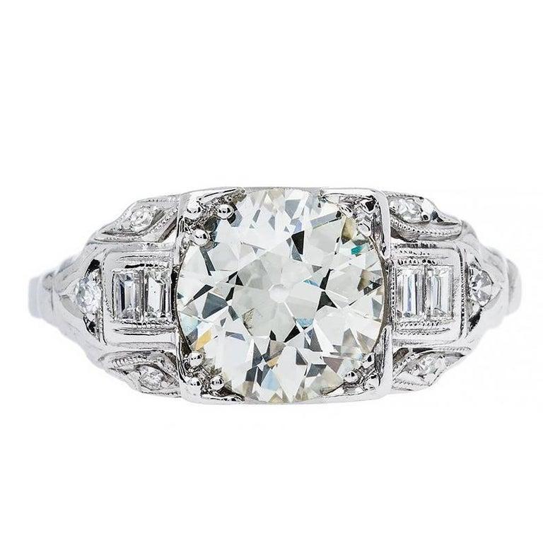 Art Deco 1.93 Carat Old European Cut Diamond Platinum Ring
