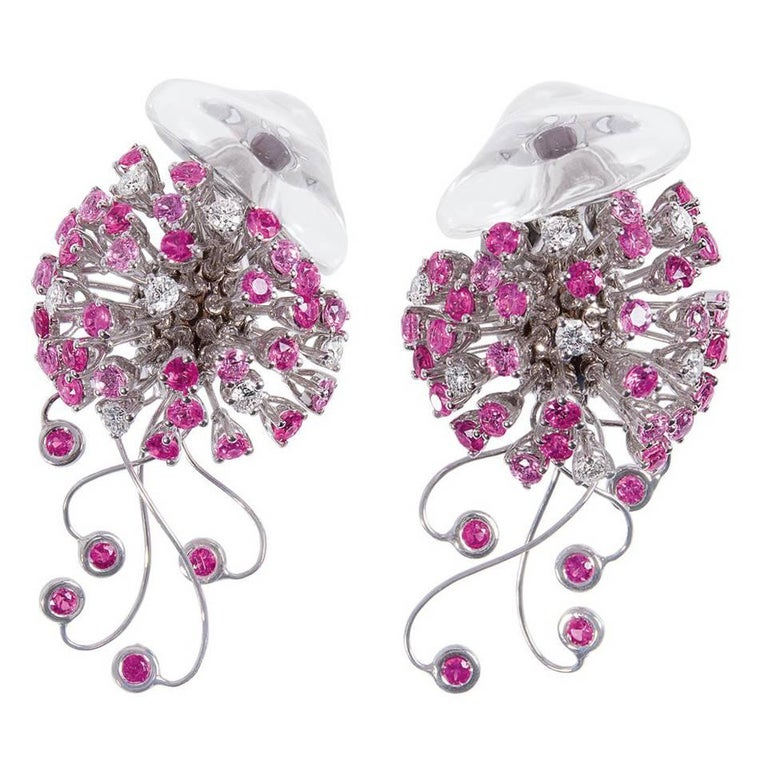 Jellyfish White Diamond Ruby Pink Sapphire Rock Crystal White Gold Drop Earrings