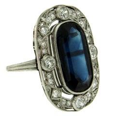 Art Deco 10 Carat Sapphire Diamond Platinum Ring
