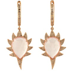 Meghna Jewels Claw Single Drop Earrings, Rose Quartz and White Diamonds