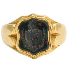 Antique Victorian Bloodstone Horse Intaglio Gold Signet Ring