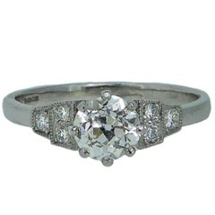 Pre-Owned 0.69 Carat Solitaire Diamond Ring with Diamond Side Stones, Platinum