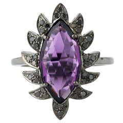 Claw Marquise Amethyst and Black Diamonds Cocktail Ring