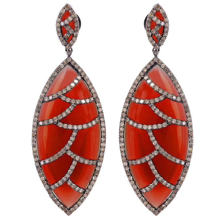 Bora Bora Earrings Red Onyx Marquise Cabochon and Diamonds
