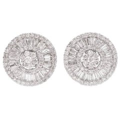 Tapered Baguette Pavé Diamond Starburst Clip-Back Stud Earrings