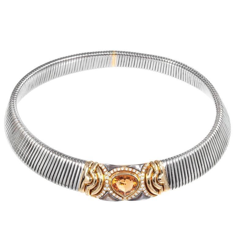 Pear Yellow Citrine Diamond Gold Accordion Choker Necklace