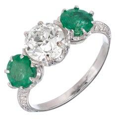 EGL Certified 2.69 Carat Diamond Emerald Art Deco Platinum Engagement Ring