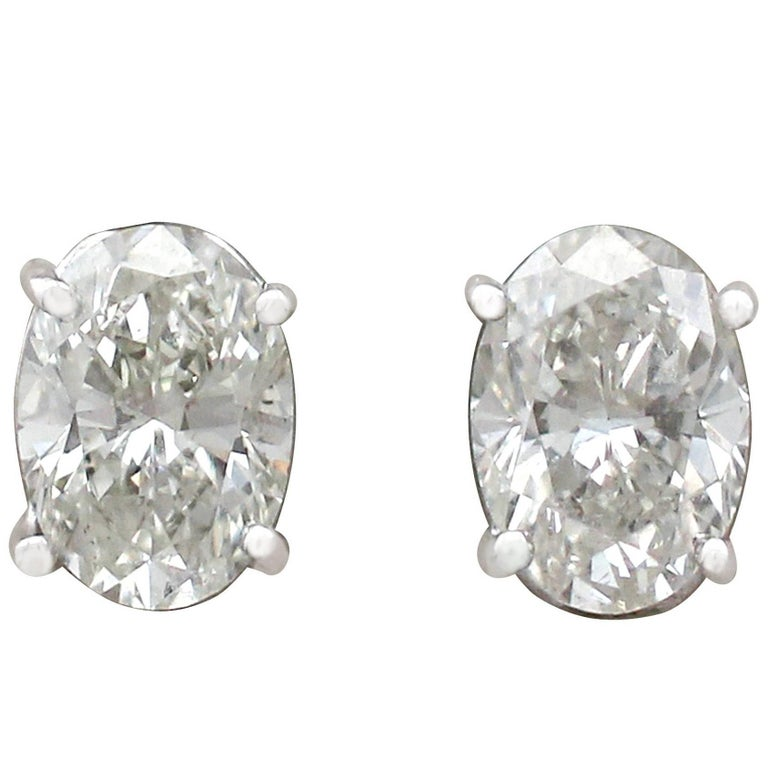 2000s 2.35 Carat Diamond and White Gold Stud Earrings