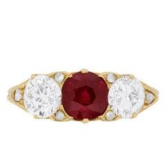 Victorian Ruby and Diamond Three-Stone Ring, circa 1880s