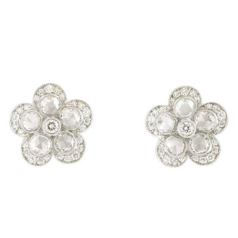 Tiffany & Co. Platinum Diamond Garden Flower Earrings