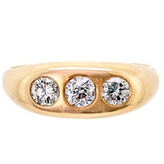 Men's Three-Stone Diamond and 14 Karat Yellow Gold Ring