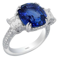 Sapphire Diamond and Platinum Ring