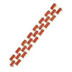 Coral and Diamond Link Bracelet