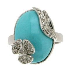 Turquoise 18 karat White Gold Diamonds Cocktail Ring