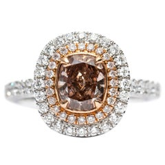 GIA 1.65 CT Fancy Orange Brown 18 KT White Gold Diamond Cushion Engagement Ring