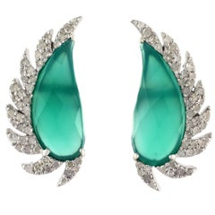 Claw Half Moon Studs Green Chalcedony and Diamonds