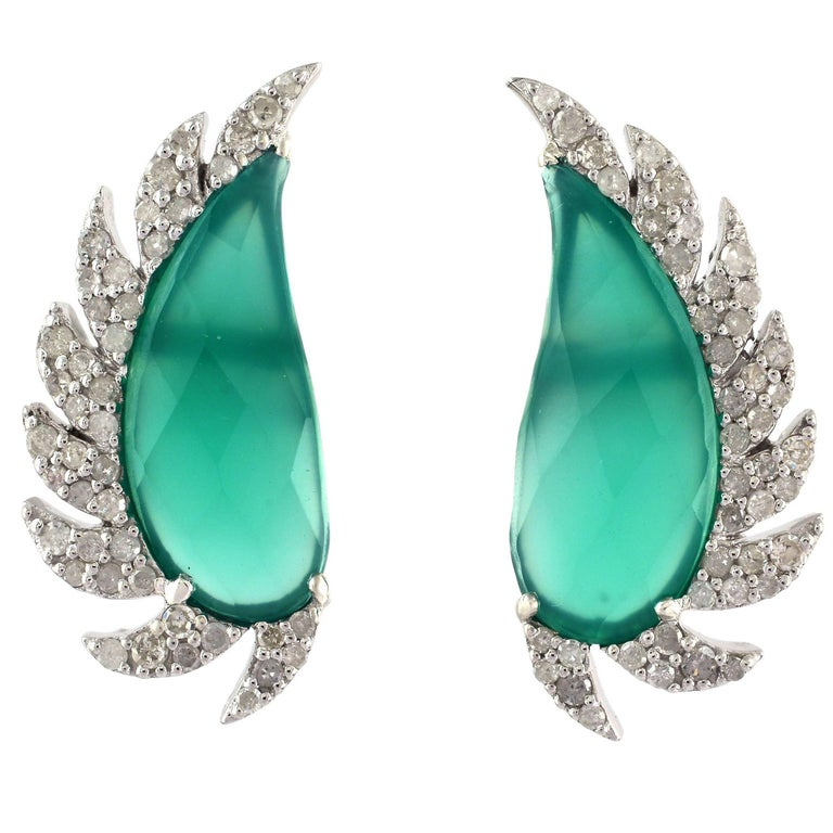 Meghna Jewels Claw Half Moon Studs Green Chalcedony and Diamonds
