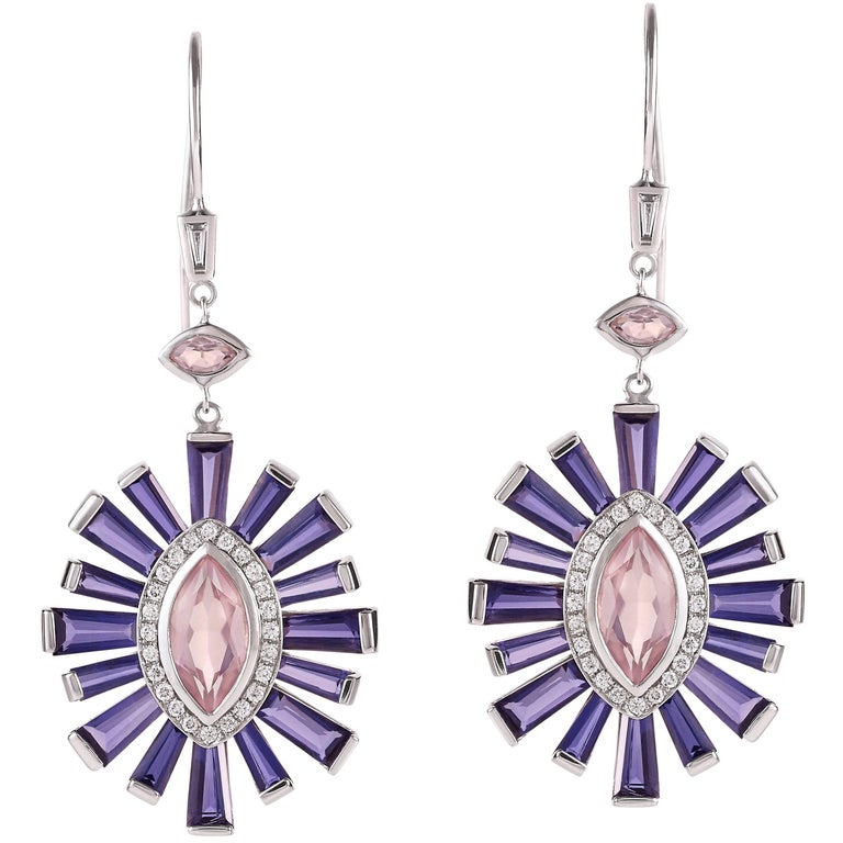 Rose Quartz, Diamond and Iolite Earrings in 18 Karat White Gold