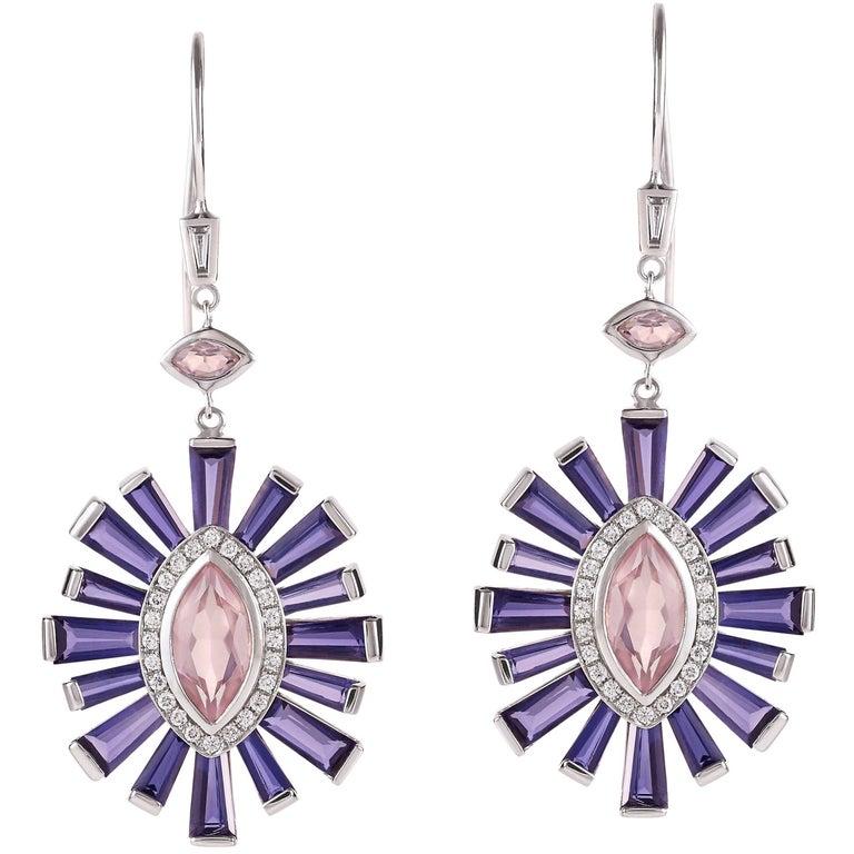 Rose Quartz Diamond And Iolite Earrings In 18 Karat White Gold For