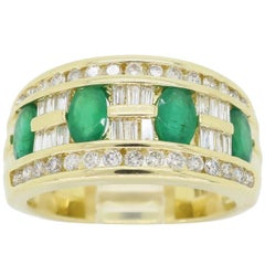 Diamond and Emerald Right Hand Ring