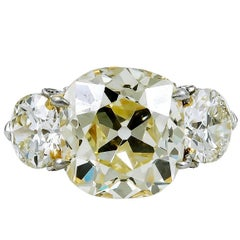 Platinum and 18 Karat Gold Old Mine Natural Fancy Yellow Diamond Ring