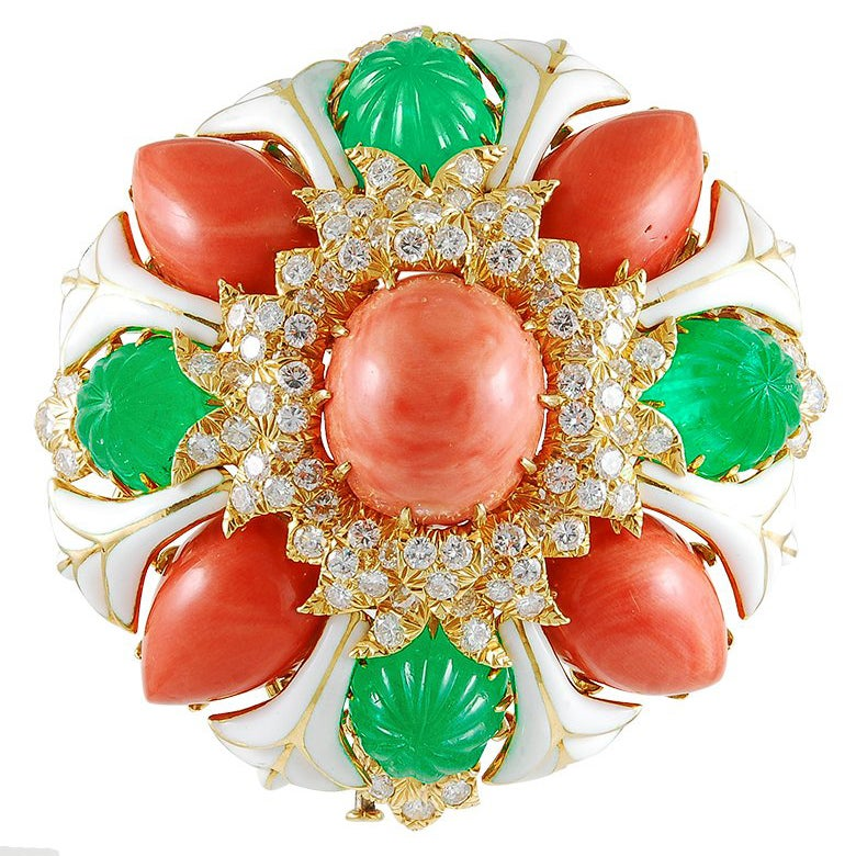 David Webb White Enamel, Carved Emerald, Coral and Diamond Brooch