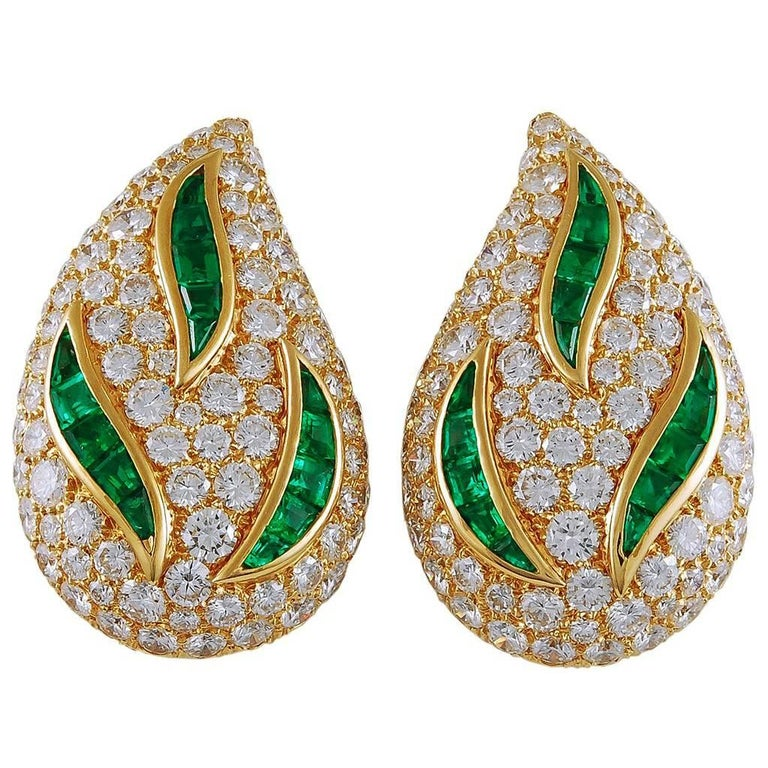 Van Cleef & Arpels Diamond, Emerald Pear-Shaped Motif Ear Clips