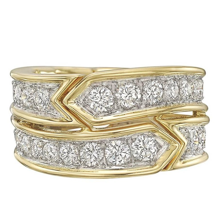 Tiffany & Co. Donald Claflin Gold, Platinum Diamond Ring