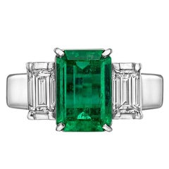 1.61 Carat Emerald Diamond Three-Stone Ring