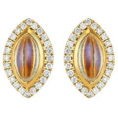 Moonstone and Diamond Marquise Stud Earrings 18 Karat Yellow Gold
