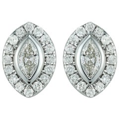 Diamond Marquise Halo Stud Earrings 18 Karat White Gold