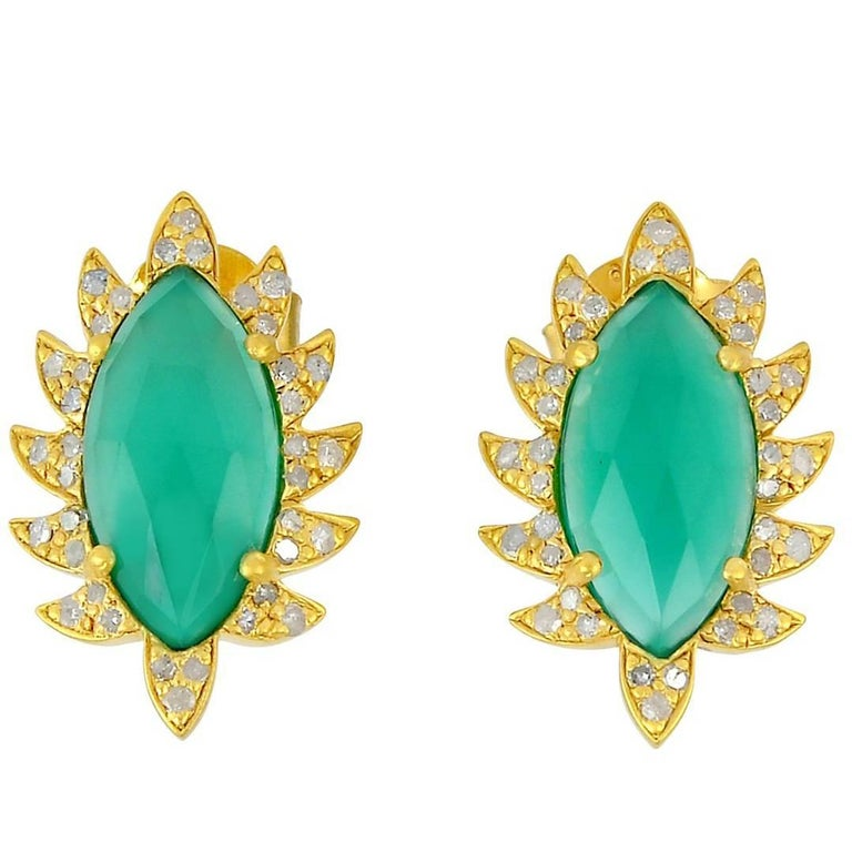 Meghna Jewels Claw Stud Earrings Green Chalcedony and Diamonds