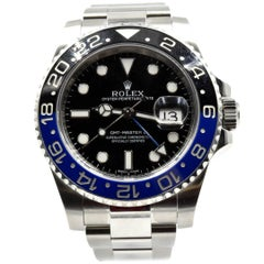 Rolex Stainless Steel GMT Master II Batman Black Dial Wristwatch Ref 116710 BLNR