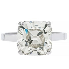 Edwardian 3.98 Carat Old Mine Cut Diamond Platinum Engagement Ring