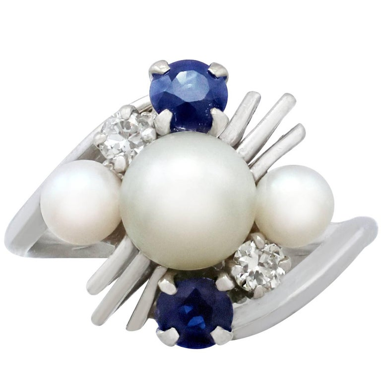 1970s Pearl and Sapphire Diamond and White Gold Twist Ring