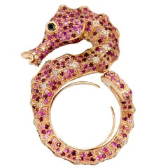 Hippocampus Sea Horse Black White Diamond Pink Sapphire Ruby 18K Gold Ring