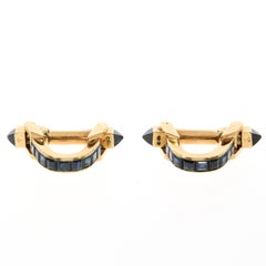 Pair of Boucheron Blue Sapphire and Yellow Gold Cufflinks, circa 1970