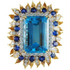 Tiffany & Co. Emerald-Cut Aquamarine, Diamond and Sapphire Brooch
