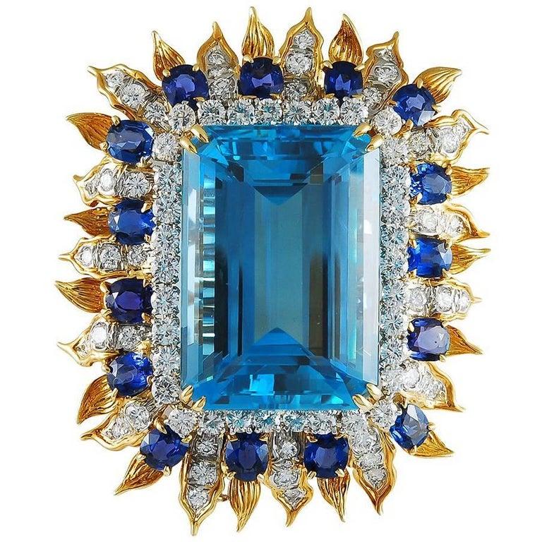 Tiffany & Co. Emerald-Cut Aquamarine, Diamond and Sapphire Brooch